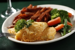 Asiago Crusted Whitefish with Tavern-Made Sweet Potato Fries