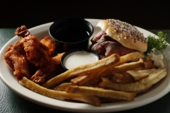 The William Mattar - 4 oz beef on weck, 4 oz tavern-made fries, and 4 chicken wings